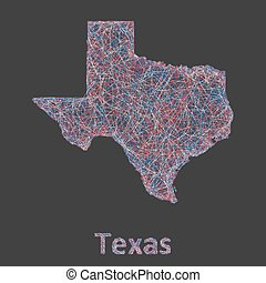 Texas line art map - red, blue and white on black background