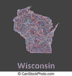 Wisconsin line art map - red, blue and white on black...