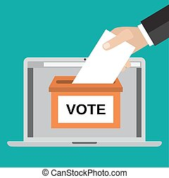 Voting online concept. Human Hand putting voting paper in...