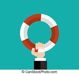 Flat background with hand and lifebuoy.