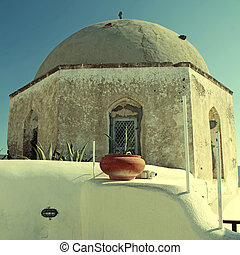 Ancient church on Santorini island, Cyclades, Greece -...