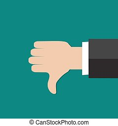 Thumbs down hand sign. Flat icon modern design style vector...