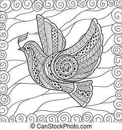 Zentangle stylized floral Pigeon for Peace Day. Hand Drawn...