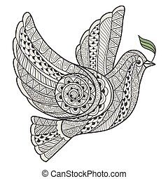 Stylized dove with olive branch style zentangle.