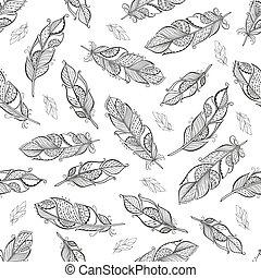 Vintage ethnic boho feathers seamless pattern. - Vintage...