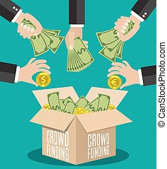 Crowdfunding concept flat - Crowdfunding concept. A lot of...