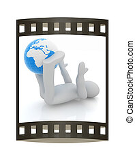 3d man exercising position on Earth - fitness ball My...