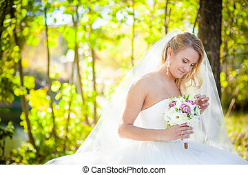 blonde bride and the bridal bouquet wedding