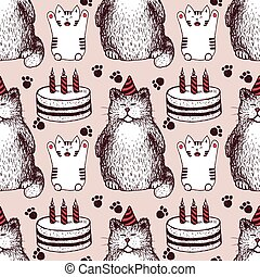 Sketch Birthday pattern in vintage style, vector cat and...