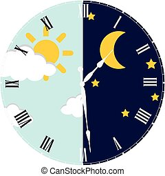 Clock day and night concept - Clock with day night concept...