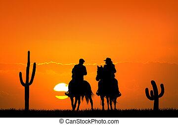 people on horseback at sunset - illustration of people on...