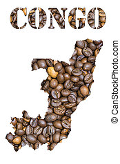 Congo word and country map shaped with coffee beans...