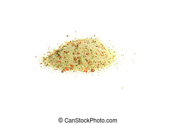 special mixture of spices for soups - close up on a heap of...
