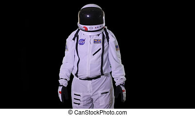Astronaut on a black background - Astronaut in open space...