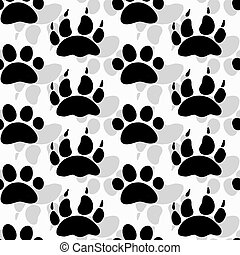 seamless pattern with footprints and bones