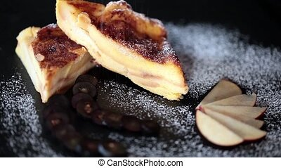 Bread And Butter Pudding With Sifte - Video clip of slices...
