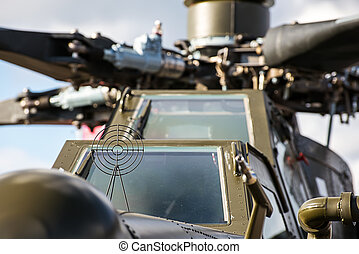 front of an military attack helicopter - Close up of the...