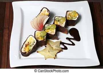 nutritious fruit dessert in the form of sushi