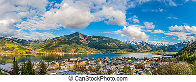 Mountain landscape with Zeller Lake in Zell am See, Austria...