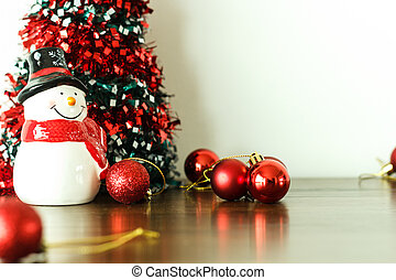 Merry christmas and happy new year decoration with snow doll...