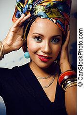 belleza, brillante, africano, norteamericano, mujer, con,...