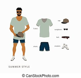 set menswear summer style Points with a cap, T-shirt with...