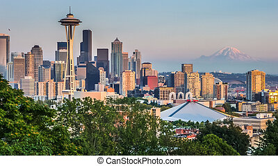 Seattle, contorno, panorama, en, ocaso, De, kerry, parque,...