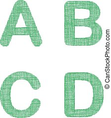Green fabric font set - letters A, B, C, D - Green fabric...
