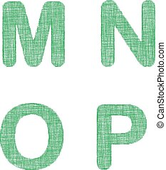 Green fabric font set - letters M, N, O, P - Green fabric...