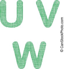 Green fabric font set - letters U, V, W - Green fabric font...