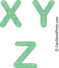 Green fabric font set - letters X, Y, Z - Green fabric font...