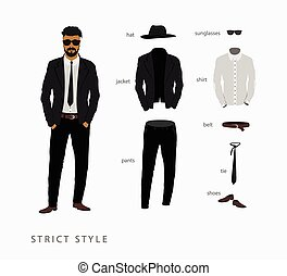 set strict style of menswear Glasses with a hat, pants with...