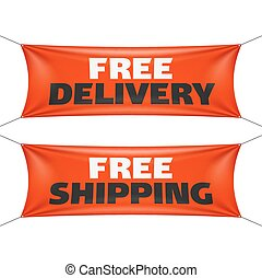 Free delivery and shipping banners