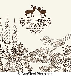 Christmas card with pinecone - Christmas fir and pinecone...