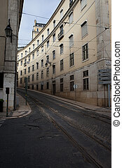 Street with Tramline in Lisbon - Street with tramline and...