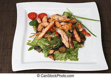 meat salad with vegetables and greens