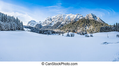 Beautiful winter mountain landscape in the Bavarian Alps, Bavaria, Germany
