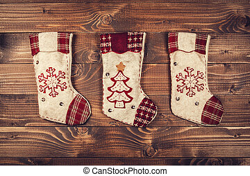 Christmas socks on a wooden background