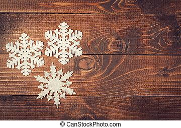 conceito,  grunge,  Snowflakes, madeira, feriados, fundo, borda, Inverno