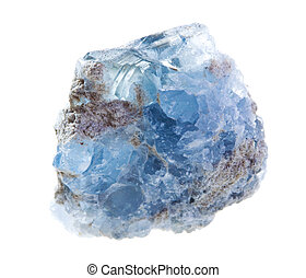 Celestine mineral isolated on a white background
