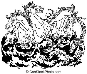 four hippocampus monochrome - four mythological seahorses...