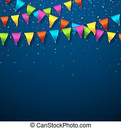 Colorful bunting flags with confetti festive background