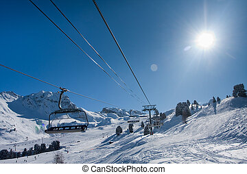 Chairlift on ski resort Up - Chairlift on ski resort Going...