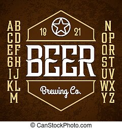 Beer label style font with sample design. Ideal for any...
