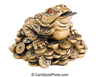 Feng Shui Frog - Chinese Feng Shui Frog with coins Isolated...