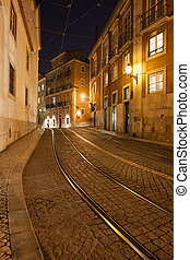 Street at Night in the City of Lisbon - City of Lisbon in...