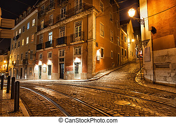 Lisbon Streets at Night in Portugal - City of Lisbon in...