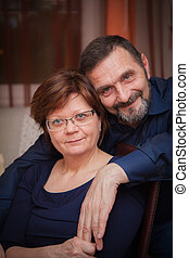 calm and natural mature couple - portrait of a calm and...