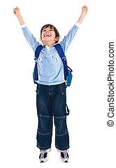 school boy very happy - school boy raising his hands up...