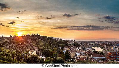 Panorama, solnedgång, Florens